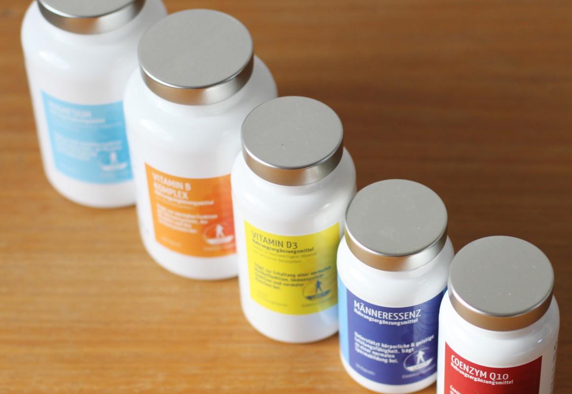 Etikettenserie in Farbabstufungenfür Nahrungsergänzungsmittel